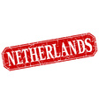 Netherlands red square grunge retro style sign vector image vector image