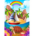 Ocean scene with turtle underwater vector image vector image