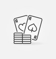 poker chips with pair aces simple line vector image vector image