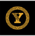 premium elegant capital letter y in a round frame vector image vector image