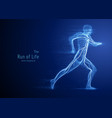 running man constructed with blue lines and vector image