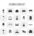 set of 20 editable furnishings icons includes vector image vector image