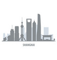 shanghai city skyline - cityscape silhouette with vector image