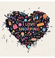 Shopping heart with colorful blots vector image vector image