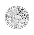 The contours of the different pieces of pizza vector image