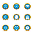 timepiece icons set flat style vector image vector image