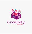 tool box and house studio art logo icon vector image