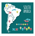 Vintage Hand drawn South America travel map with