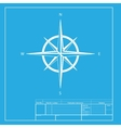 Wind rose sign White section of icon on blueprint vector image vector image