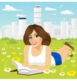 woman lying down on grass reading book vector image vector image