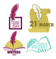 writers and poetry day isolated icon feather vector image