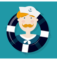 Cute ginger sailor cartoon character in a lifebuoy vector image