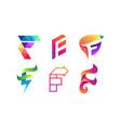 abstract letter f logo set letter f logo vector image vector image