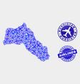 aero collage kurdistan map and grunge seals vector image vector image