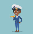 african airline pilot with the model of airplane vector image vector image