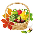 Basket with autumn fruit and vegetables