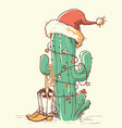 cactus christmas in red santa hat and cowboy vector image vector image