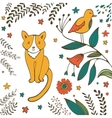 Cat in spring vector image