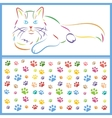 color sketch of a cat and paws vector image