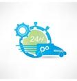 delivery truck around clock icon vector image vector image