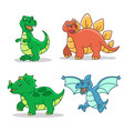 dinosaur cartoon style set vector image
