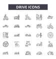 drive line icons signs set outline vector image vector image