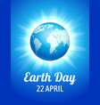 earth day blue poster vector image vector image