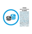 Euro Coin Stacks Rounded Icon with 1000 Bonus vector image vector image