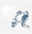falcon bird pine branch background japanese vector image