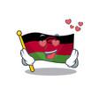 falling in love happy cute flag malawi cartoon vector image vector image