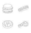 fast food meal and other web icon in outline vector image vector image