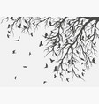 figure flock flying birds on tree branch vector image