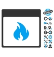 Fire Calendar Page Icon With Bonus vector image vector image