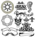 floral decorative woodprint design elements vector image vector image