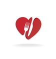 Fork and knife with heart shape lovely food logo vector image vector image