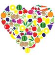 fruits veggies heart vector image