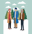 group of men in snowscape with winter clothes vector image vector image