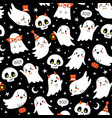 halloween cute ghost and skull pattern vector image