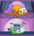 happy halloween banner backgrouns set cartoon vector image vector image