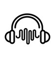 headphones wave frequency sound line style icon vector image vector image