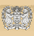 heraldic emblem with bear holding shield on vector image vector image