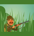 hunter man character hunt ducks vector image