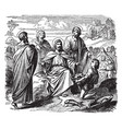 jesus feeds the five thousand with five loaves of vector image vector image