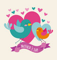 little birds hearts ribbon wave mothers day vector image