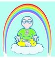 little man in meditation color version vector image vector image