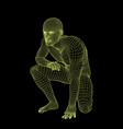 man sitting on ground wireframe human body vector image vector image