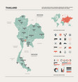 map thailand country map with division cities vector image