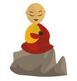 monk on white background vector image vector image