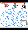 paths maze game with animals playing soccer vector image vector image
