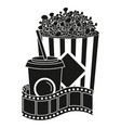 pop corn with soda and tape record vector image vector image
